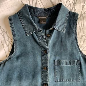 Club Monaco sleeveless denim shirt